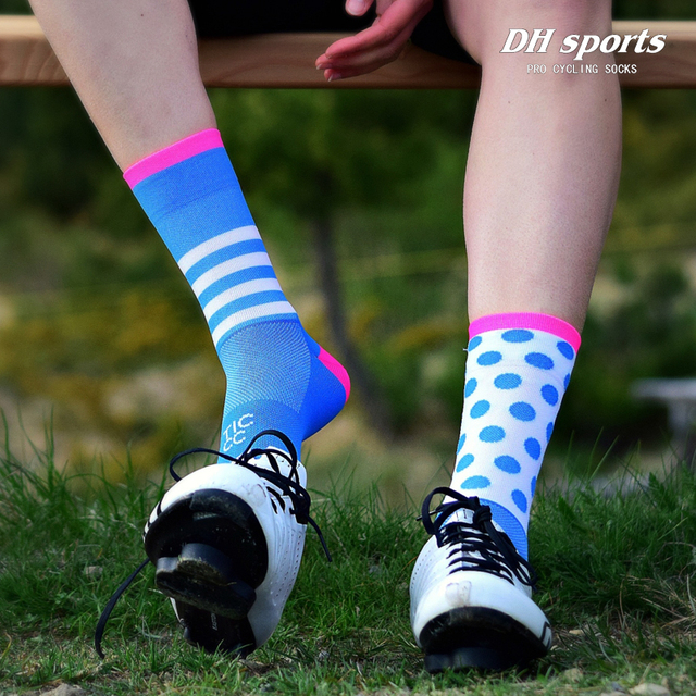1fa917ec93 DH cycling sports socks long compression bicycle men women socks protector football  soccer running outdoor training hose socks