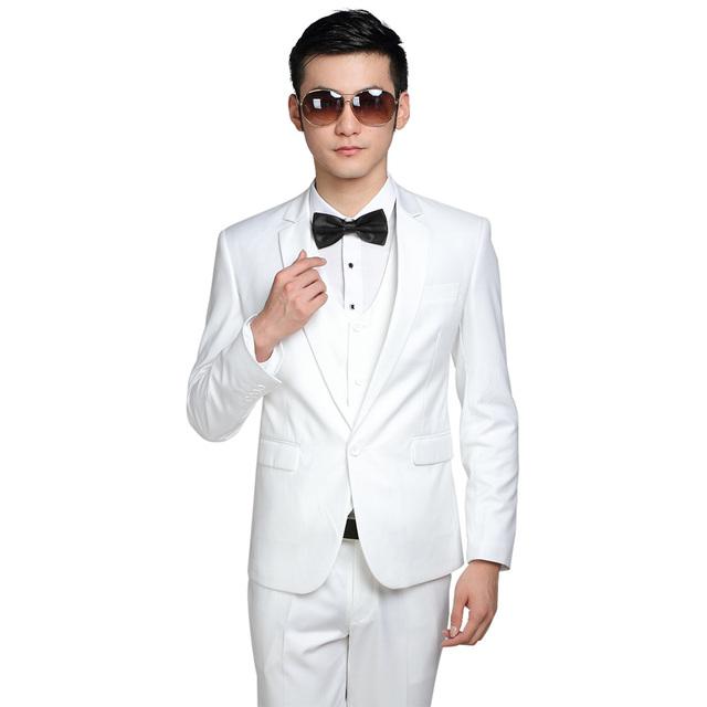 Trajes de hombre Nuevo Diseño (Jacket + Pants + Tie) Delgado Custom Fit Tuxedo Bridegroon Negocio Formal Del Vestido de Boda traje de Chaqueta de Color Blanco