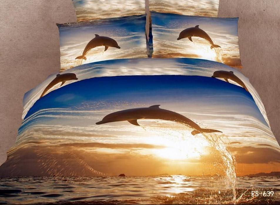 дельфин стиль люкс с 3D картина маслом принт 4 шт. полный/королева/король комплект постельных принадлежностей пододеяльник/одеяло крышка, hky05
