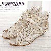 ENMAYER Big Size 34 43 Fashion Cutouts Lace Up Women Sandals Open Toe Low Wedges Bohemian