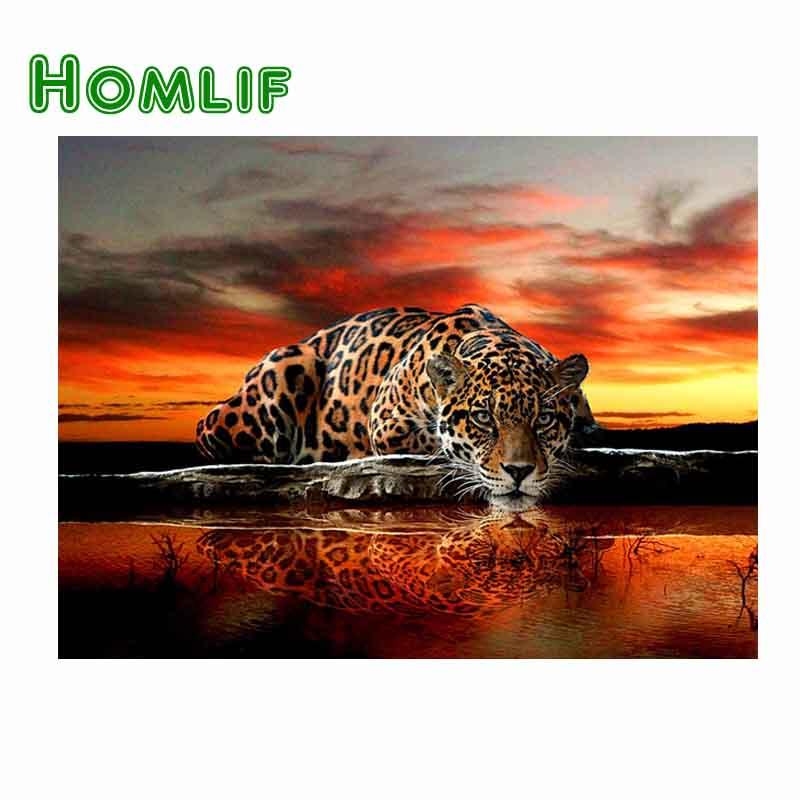 HOMLIF 5d del diamante del modello del leopardo Punto Croce pittura diamante quadrato animale ricamo perline modelli di immagine