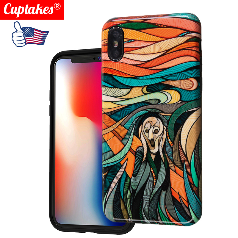Luxury Art Work for iPhone 6S 6 7 8 Plus XS MAX XR Fashion Marble silicon Phone Cases Case Cover Fine Cry Crazy