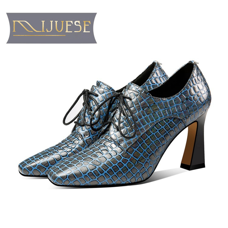 MLJUESE 2019 women pumps autumn spring cow leather square toe lace up blue color high heels