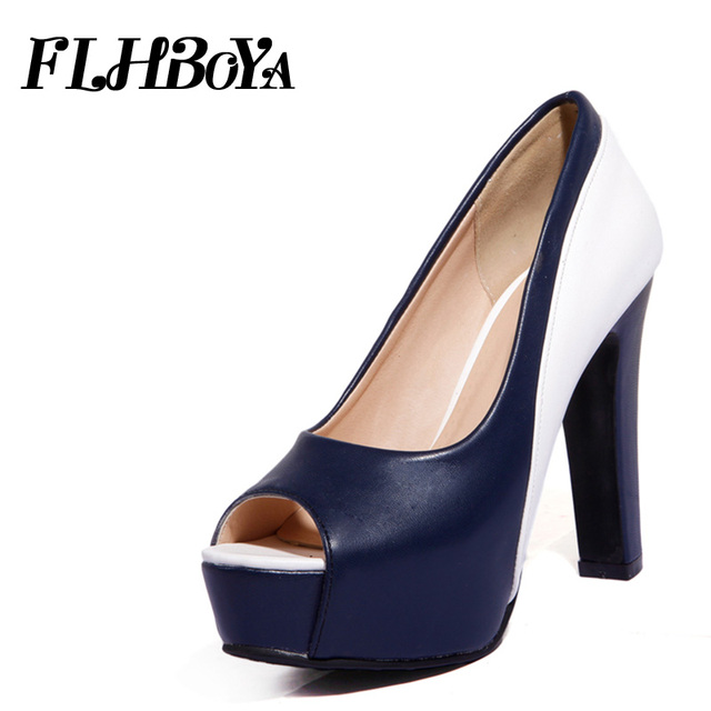 2f16939fcdc5 2018 Summer Women Peep Toe Slip-on Sexy Super high Square heels Pumps  Platform Shoe Woman Black Cover Hoof Heels Party Lady Pump