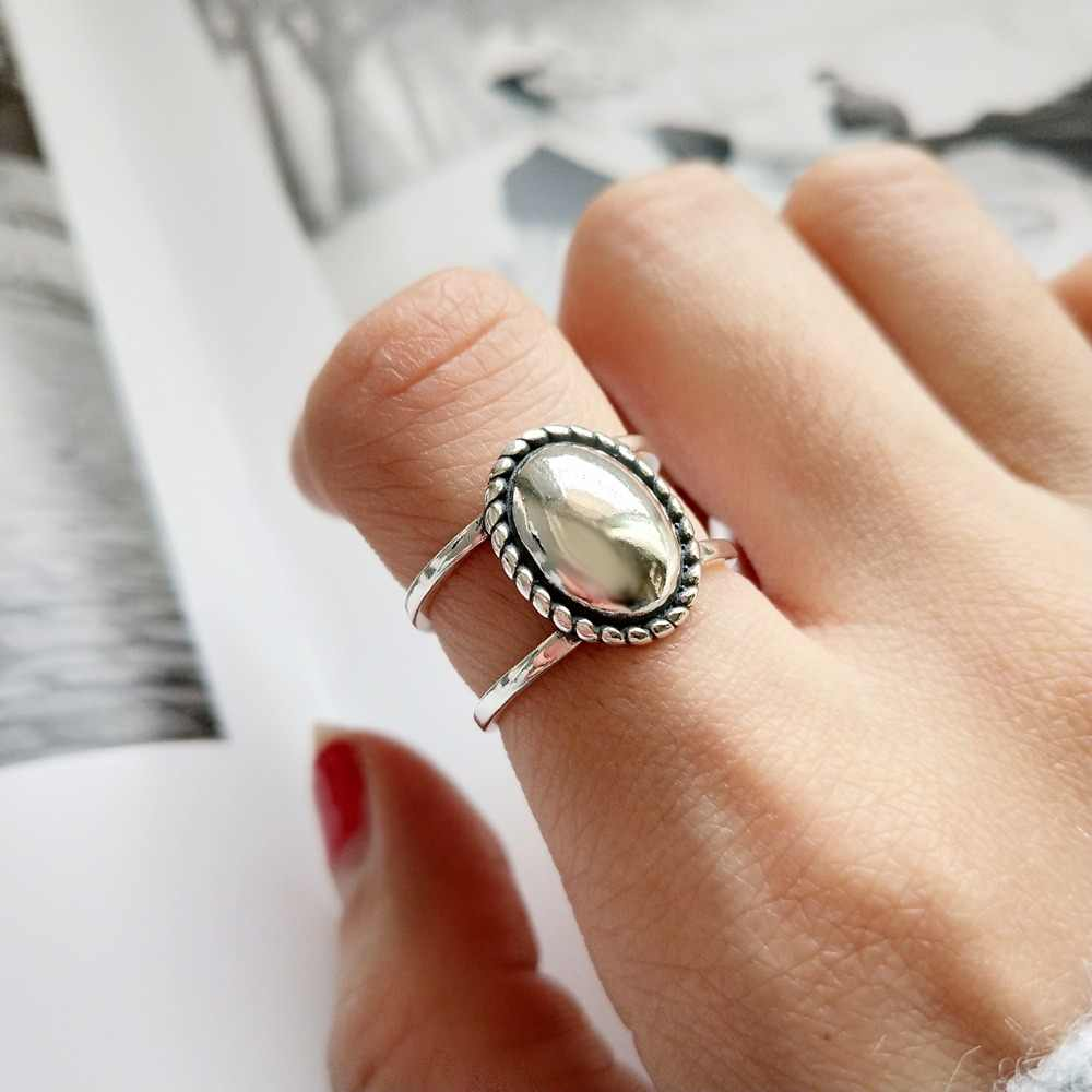 Wild design 100% Authentic 925 sterling silver 925 sterling silver vintage temperament Roped Braid &Oval Geometric Ring J209