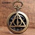 Bronze Relíquias Da morte Lord Voldemort Bolso Retro relógio de Bolso de Quartzo Relógio de bolso Cadeia Colar Pendent Presente de Natal
