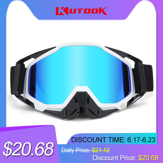 KUTOOK UV Protection Snowmobile Goggles Men Women Ski Glasses Anti-fog Snowboard Goggles With Case Face Mask Winter Snow Sports