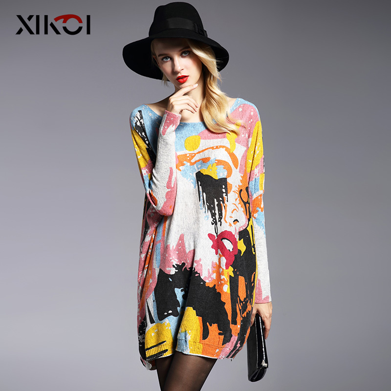 XIKOI Oversize Sweater Fashion Sleeve Print Slash Neck Kvinder Sweaters Pullovere Computer Strikket Kvinder Sweater