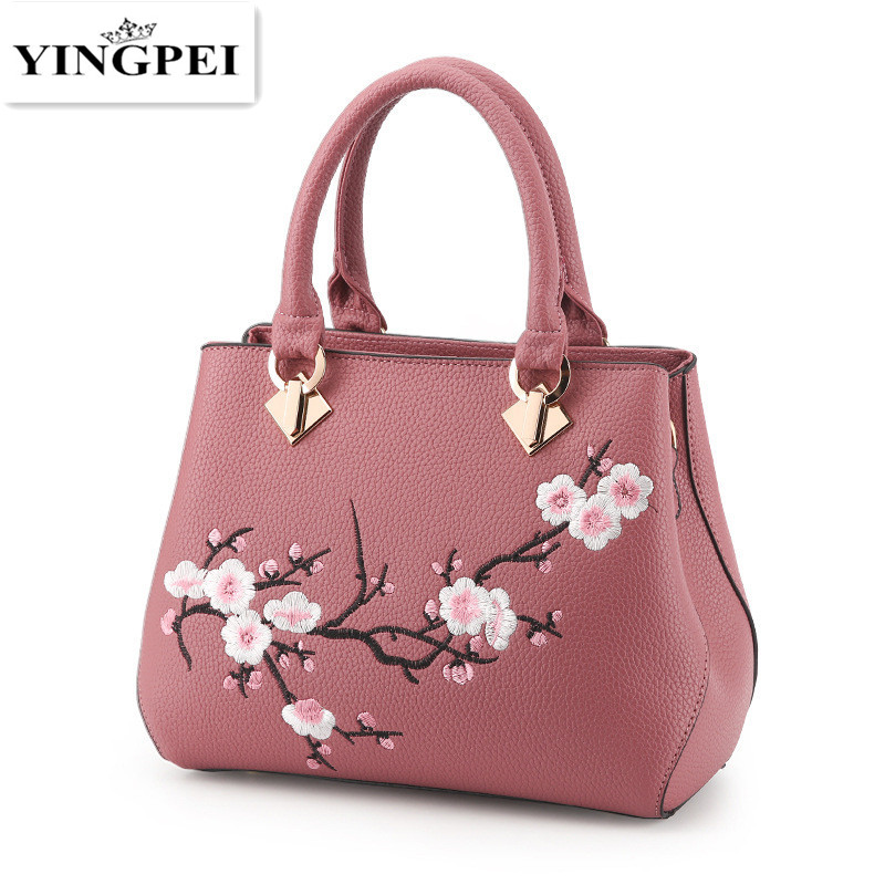 YINGPEI Embroidered Flowers bag Retro Leather luxury handbags women bags designer brand ladies hand bag Sac a main femme de a faustian foreign policy from woodrow wilson to george w bush