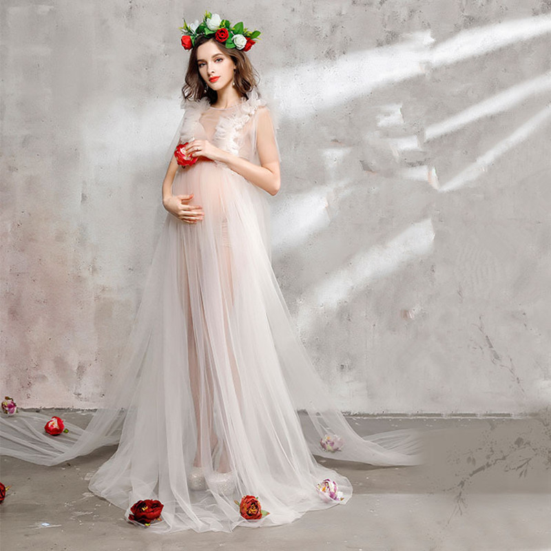 bdc8c720faa Le Couple Maternity Photography Tulle Maxi Gown White Maternity Tulle Long  Dresses Sleeveless Tutu Maxi Dresses