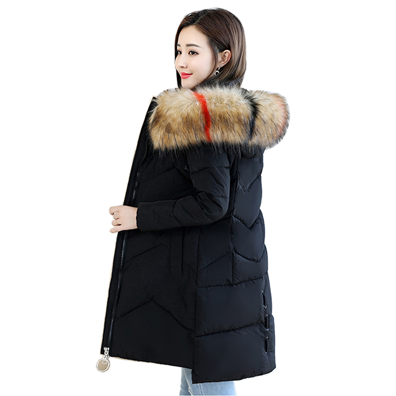 2018 Large size Women winter jacket Thick Fur collar To keep warm Winter coat High quality cotton Hooded coat Female Long   Parkas