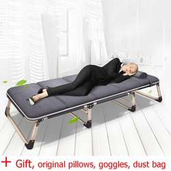 O envio gratuito de cama dobrável espreguiçadeira dormir escritório/acampamento ao ar livre chaise longue nap cama com almofada travesseiro/máscara/saco