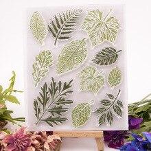 Зеленые листья прозрачный силиконовый штамп/печать для DIY скрапбукинга/фотоальбом декоративный ручной работы изготовление открыток