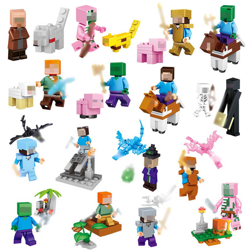 Minecraft 4 In 1 Building Blocks Minecraft Figures Dragons Toys Steve Zombie Alex Witch Zombie Skeleton Compatible Blocks #E