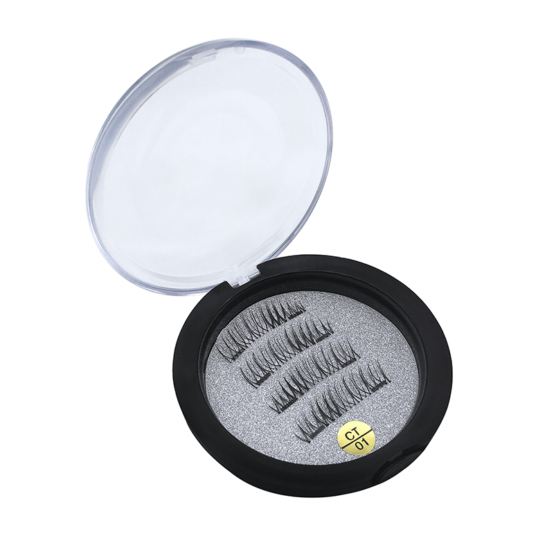 1 pair of magnetic eyelashes with 2 magnets handmade 3D magnet false eyelash extension delivery gift box CT01