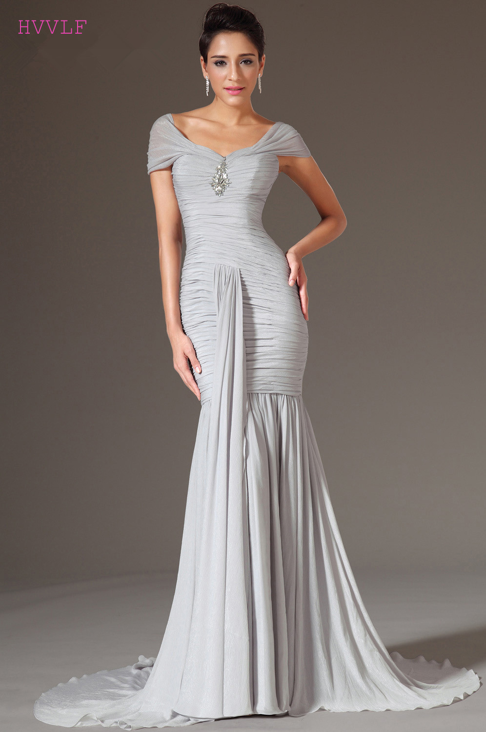 Silver   Evening     Dresses   2019 Mermaid V-neck Cap Sleeves Chiffon Plus Size Long   Evening   Gown Prom   Dresses   Robe De Soiree