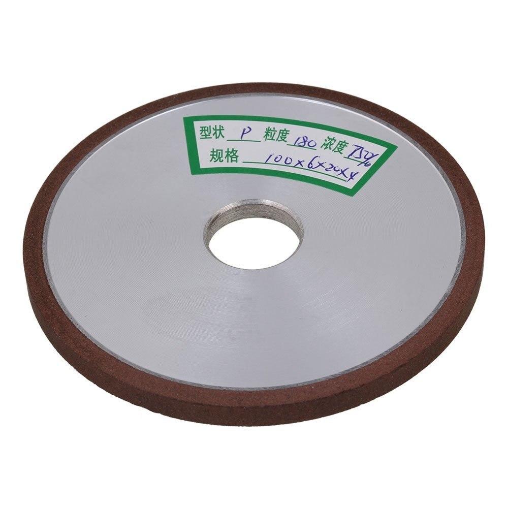 Flat Disc Straight Silver Diamond Aluminum Resin Grinder Grinding Wheel 180# Grit (100x6x20mm)