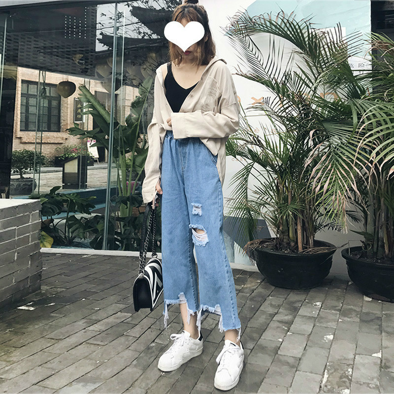Boyfriend Jeans High Waist Women Pocket Blue Ripped Hole Wide Leg Pants Loose Denim Trousers For Woman Summer Casual Jeans in Jeans from Women 39 s Clothing