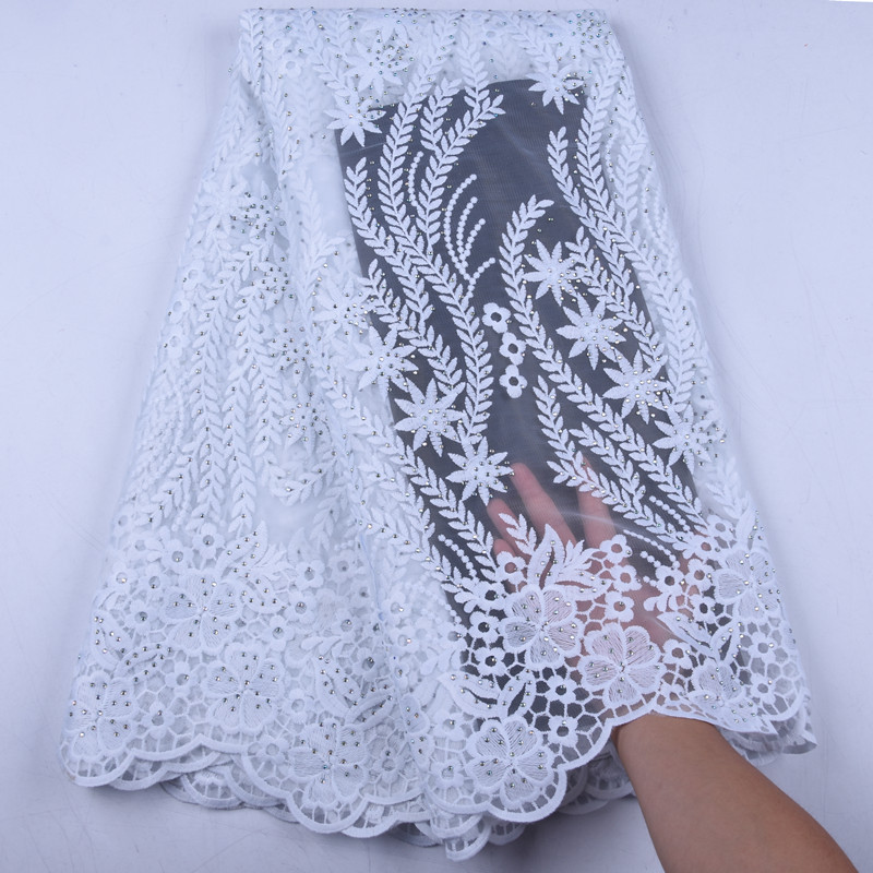 Pure White Milk Silk Lace Fabric Bridal Materials African Lace Fabric Latest French Nigreian Voile Lace Fabric With Stones F1571