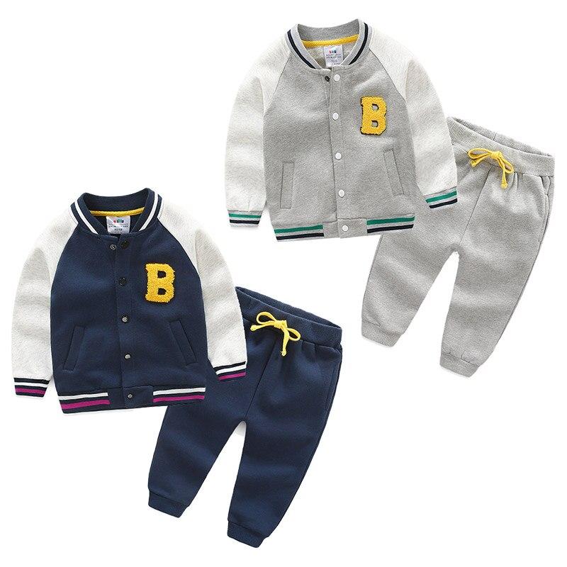 Girls Spring Autumn Boys Sport Suit Children Clothing Set Coat Pant Tracksuit Cotton Brand Baseball Jersey 3-8 T Kids 2cps Warm стоимость