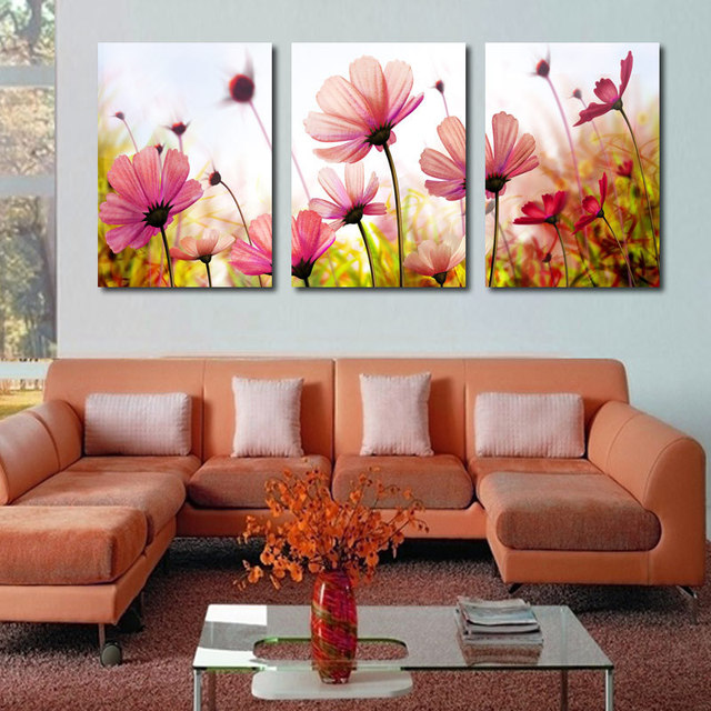 living room abstract art modern abstract palette knife poppies flower painting 14027
