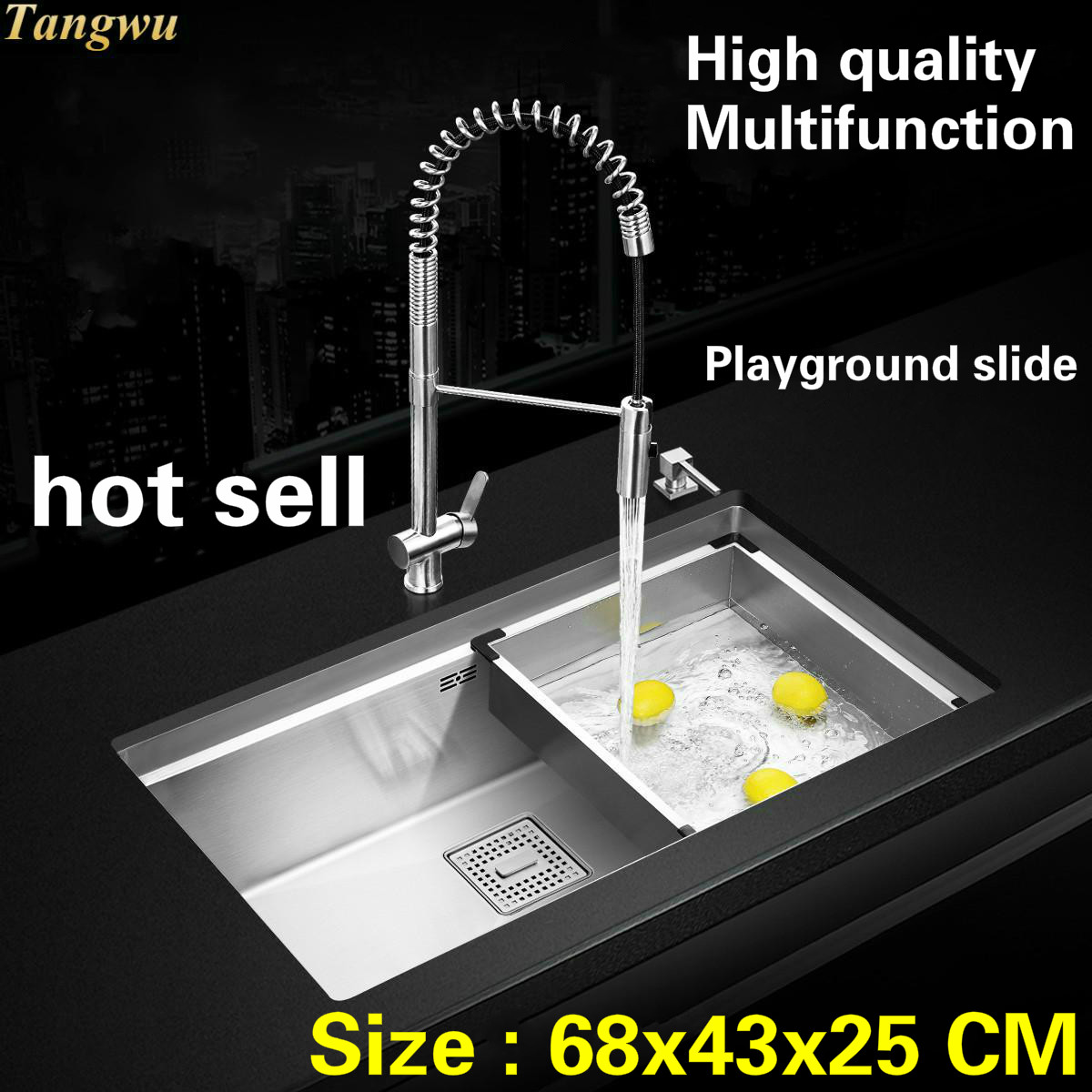 Tangwu High-grade Kitchen Sink 4 Mm Thick Food-grade 304 Stainless Steel Durable Manual Single Slot 68x43x25 CM