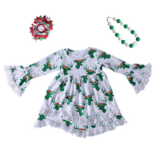 Baby Girl Christmas dresses Costume green reindeer Clothing kids dresses for girls Christmas outfits boutique girls winter dress цены онлайн