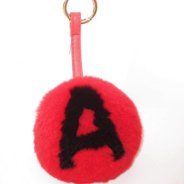 Действительно меха мяч брелок буквы женщины круглый персонализированные имя Рекс кролика мяч мешок кулон помпоном ключи от машины цепи мужская 10 см