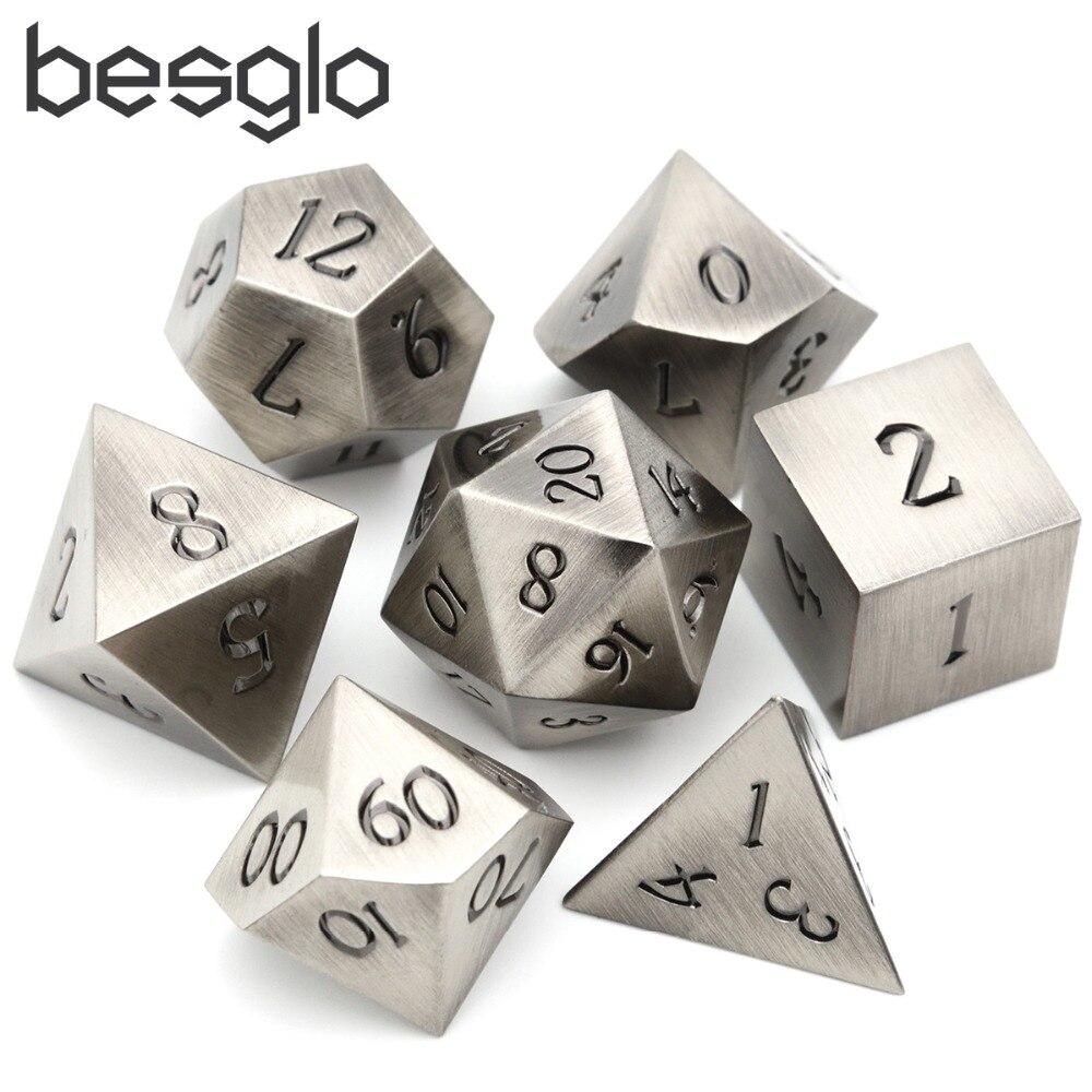 Clássico battleworn prata com preto para dungeons rpg e dragões d & d matemática ensino d4 d6 d8 d10 d12 d20 saco de dados incluem