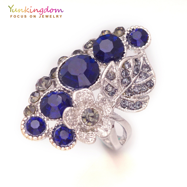 Yunkingdom Elegant vintage ethnic big rings for women blue crystal rhinestone an