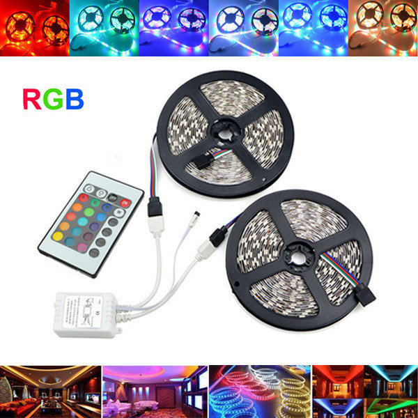 10M LED Strip 3528 RGB Flexible Light Non Waterproof DC 12V 600LEDs(300LEDs/roll*2roll) with 24 Keys IR Remote Controller Kit
