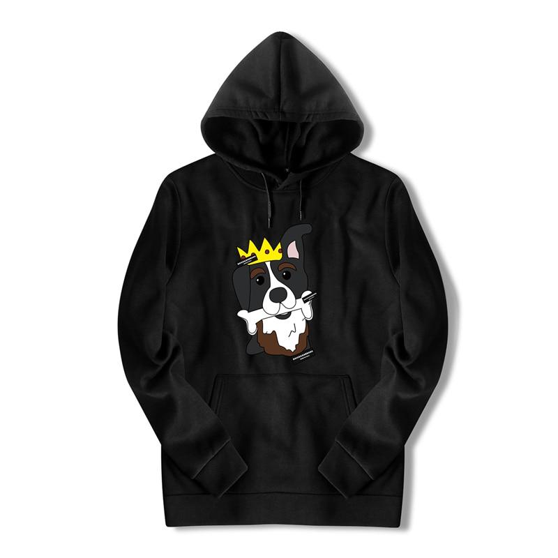 Забавные Для мужчин с капюшоном уличная зимнее пальто длинные с Bape белый с принтом собаки аниме негабаритных Harajuku свитер с капюшоном Для му...