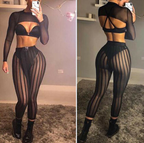 Fashion Ladies Women's Mesh Striped Sexy See Through Leggings Casual Perspective Summer Pants Trousers Party Trousers Club Wear