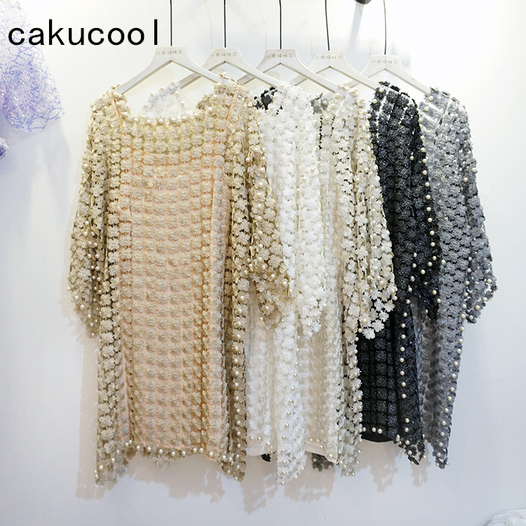 Cakucool New Women Lace Floral Dress Hollow Out Pearl Beading Spring Long Sleeve Vestido Square Collar Loose Cute Mini Dresses