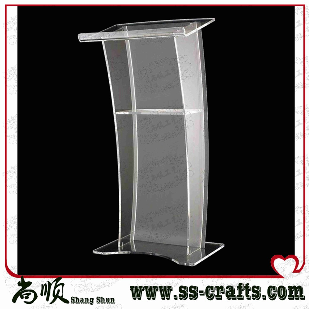 Acrylic Digital Lectern, Podium Size, Pulpit, Speakers Stand.acrylic Lecter Table Curved Rail Acrylic Lectern