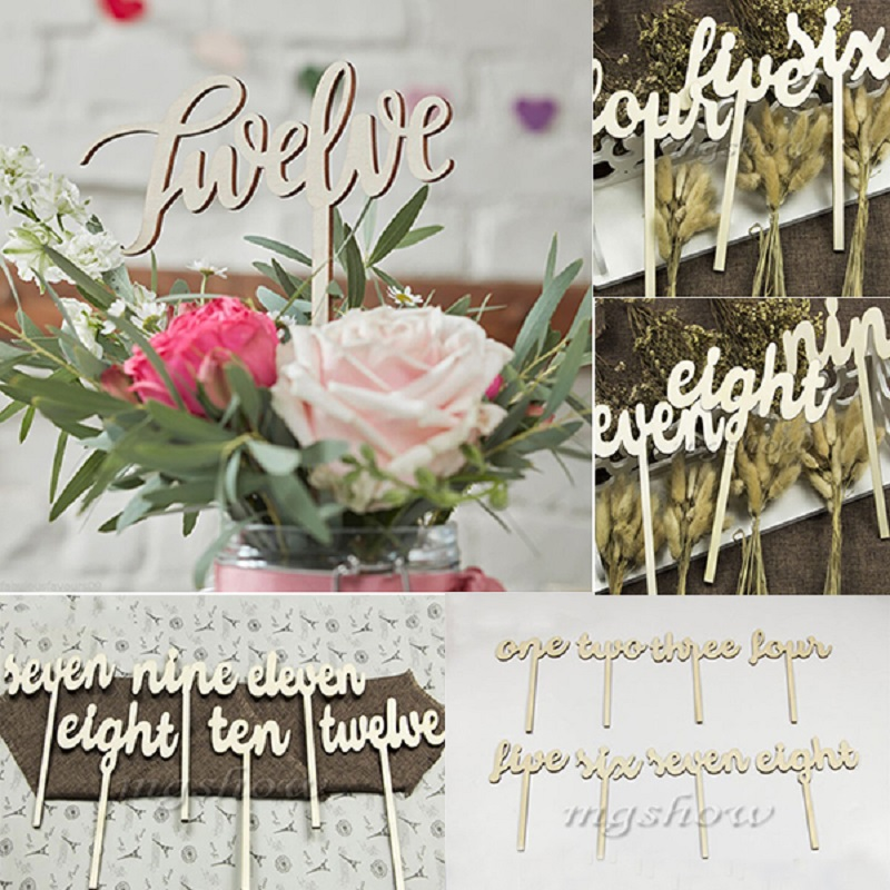 Shape Wooden Script Design Table Numbers Vintage Rustic Weddings Set 1 12 Decor China