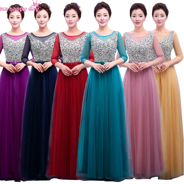 Special Occasion Beautiful Elegant Long 3 4 Sleeve Bridemaids Dresses Modest Dress Brides Maids Gown Bride For Women B3762