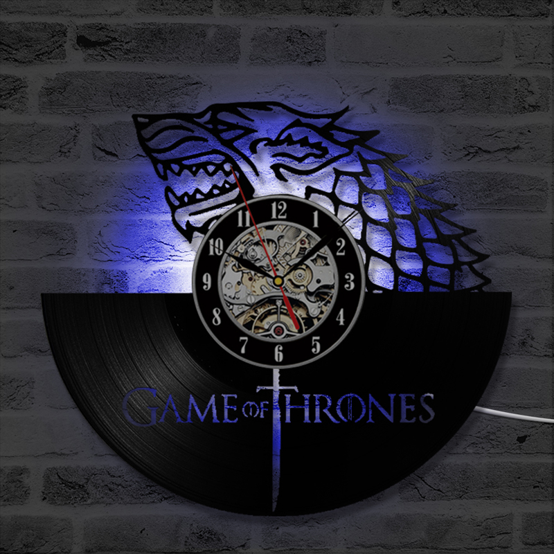 Game Of Thrones Led Wall Clock Modern Design Vintage Vinyl Record Wall Clock With 7 Color Change Hanging Watch Remote Control