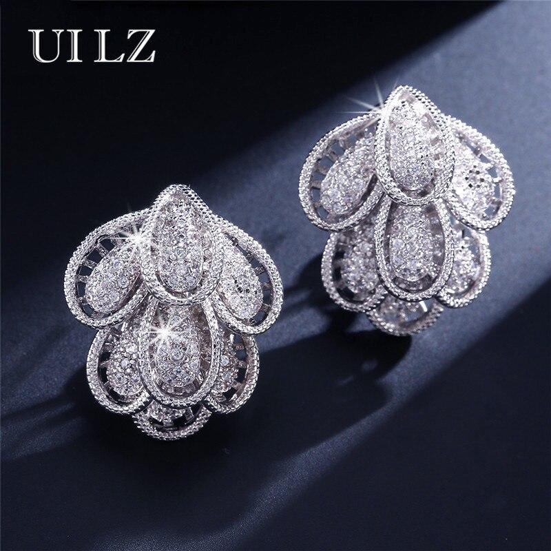 UILZ Trendy Dubai Women Clip Earrings Multi-layer Flower Shape Jewelry With Micro CZ Full Paved For Wedding UE188