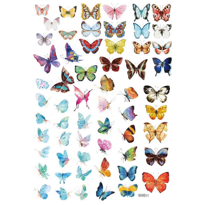 kawaii Hand painted butterfly album decorations stickers DIY Manual stickers School office teaching stationery scrapbooking gift