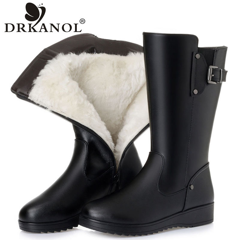 DRKANOL Natural Wool Fur Warm Snow Boots Women Winter Flats Mid Calf Boots Genuine Leather Waterproof