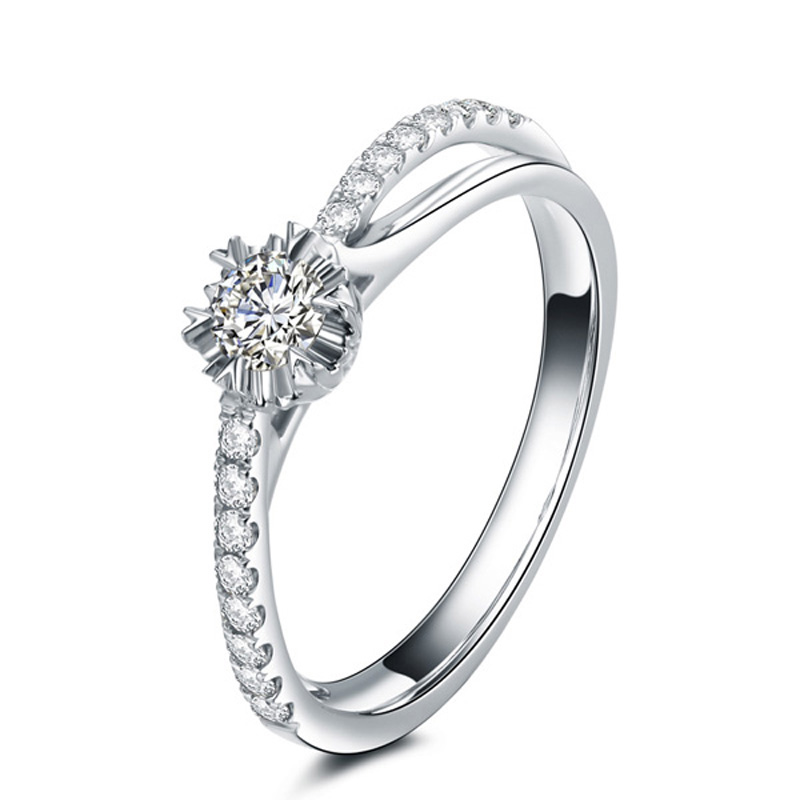 guaranteed pure 18k solid white gold 012ct si h diamond engagement rings for womens certified - Engagement Rings Vs Wedding Ring