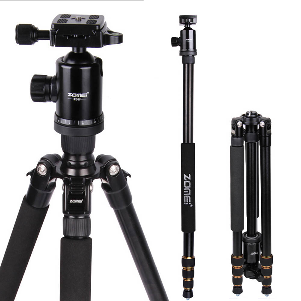New Zomei Z688 Aluminum Professional Tripod Monopod For DSLR Camera With Ball Head / Portable Camera Stand / Better than Q666 цена