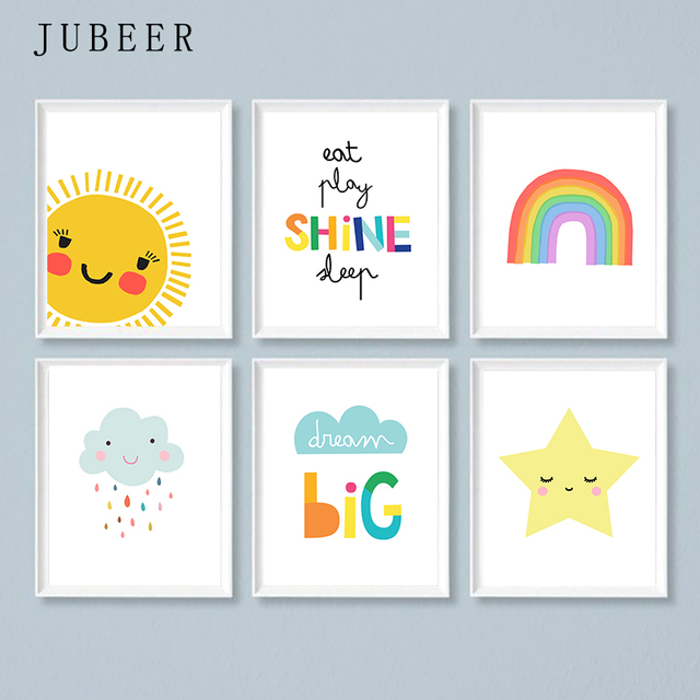 Girl Room Decoration Rainbow Poster 6 Piece Set Nursery Bedroom Decoration Painting for Children Room Cloud Sun Cute Picture