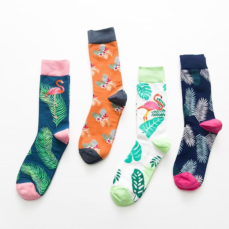 New Flamingo Cotton Funny Couple Socks Harajuku Leaves Crew Casual Happy Socks For Women Art Flamingo Fashion Cute Hipster Sock