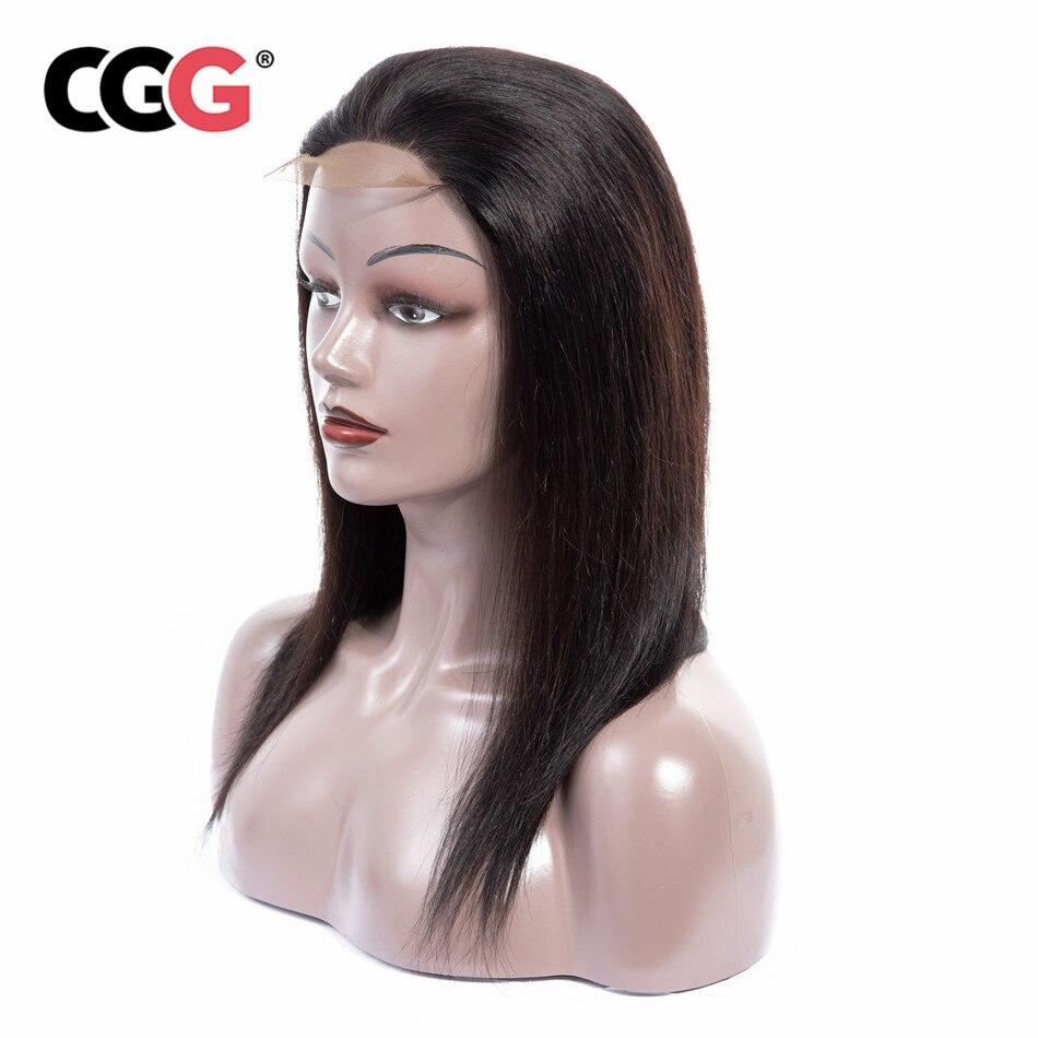 CGG Straight Lace Closure Wigs 4 4 Lace Closure Malaysian Human Hair Wigs Non Remy Medium
