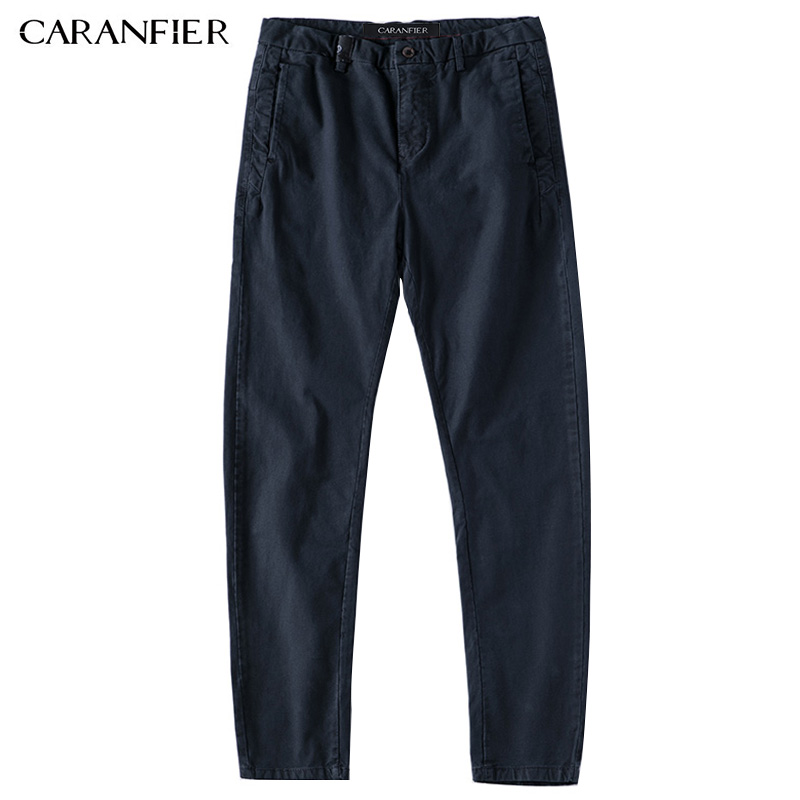 CARANFIER New Mens Casual Business Pant Stretch Elastic Fabric Slim Straight Pant Male Working Pants Clothes Blue Black Gray