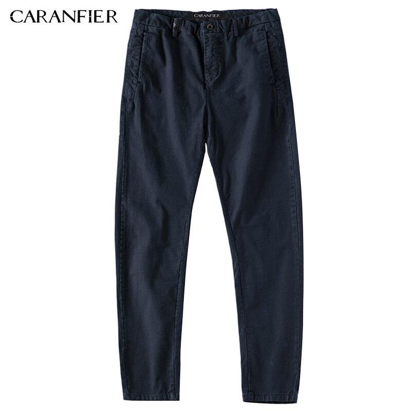Caranfier новые мужские Повседневное Бизнес брюки эластичные Ткань узкие прямые брюки мужской Рабочая Брюки для девочек одежда синий Черный, се... ...