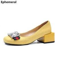 Ladies rhinestone high heel pumps flock shoes women square heels anti slip loafers yellow red black slip on max size EU48 47 46