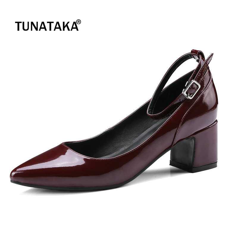 Genuine Leather Comfort Square High Heel Woman Ankle Strap Pumps Fashion Pointed Toe Dress High Heel Shoes Black Wine Red amourplato women s fashion pointed toe high heel sandals crisscross strap pumps pointy dress shoes black purple size5 13